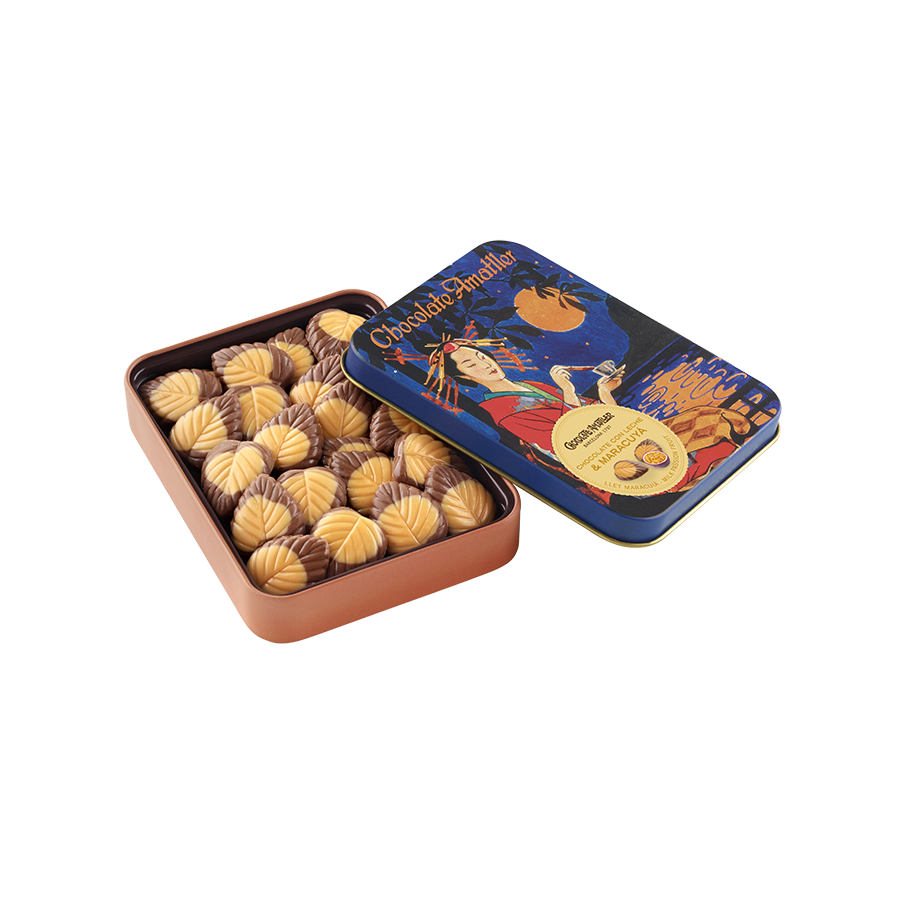 Milk chocolate and passion fruit leaves Tin 60g