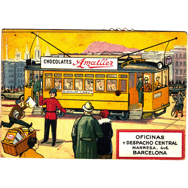 Advertising Postcard with Barcelona Tram lines information. Year 1940.